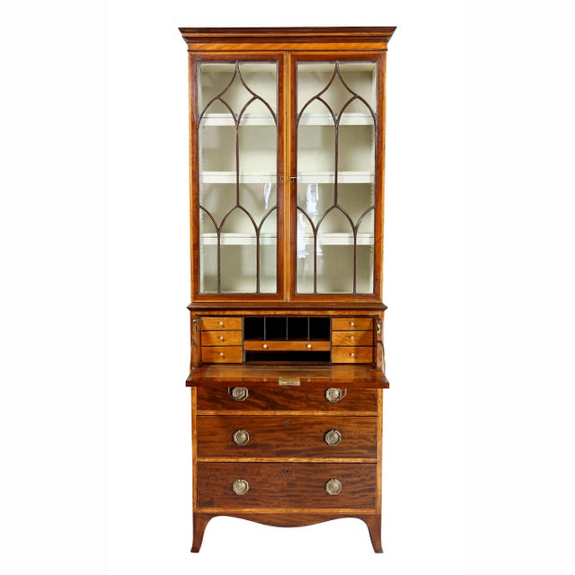 Gothic George III Diminutive Mahogany and Satinwood Secretaire For Sale - Image 3 of 13