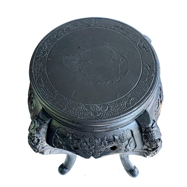 Wood Vintage Chinese Carved Wood Planter Jardiniere Holder Stand Pedestal Side Table For Sale - Image 7 of 12