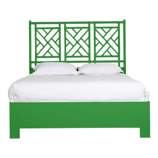 Chippendale Bed Queen - Bright Green For Sale