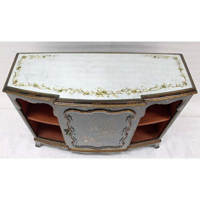 Asian inspired silver leaf mirror top black lacquer brick red interior gold hand decorated console cabinet hall credenza.