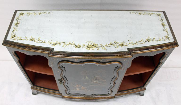 Mirrored Silver Gilt Bow Front Hand Decorated Console Cabinet Credenza  Chinoiser   Image 2 Of 8