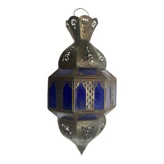 Handcrafted Moroccan Metal and Blue Glass Octagonal Shape Lantern For Sale