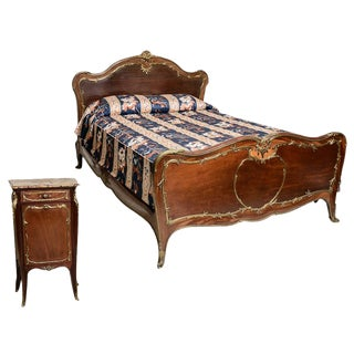 Formal French Bed and Night Stand For Sale