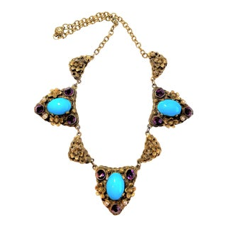 C1930s Czech Turquoise Glass Cabochon Necklace For Sale