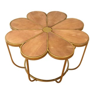 Modern Brass & Wood Flower Top Coffee Table For Sale