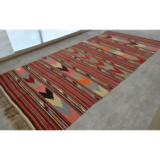 Antique Turkish Kilim Hand Woven Wool Large Runner Rug - 6′5″ × 13′8″ For Sale - Image 4 of 10