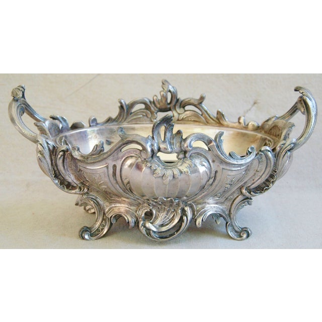 1950s Ornate French Silverplate Jardinière Planter - Image 3 of 11