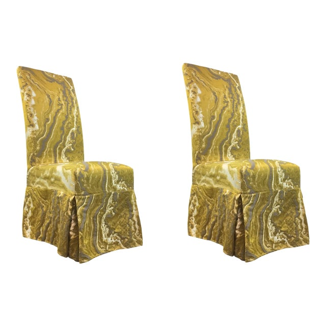 Miraculous Modern Gold And Silver Slip Cover Parsons Chairs Pair Andrewgaddart Wooden Chair Designs For Living Room Andrewgaddartcom