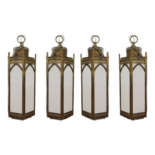1960's Gothic Revival Brass Cathedral Lanterns - Set of 4 For Sale
