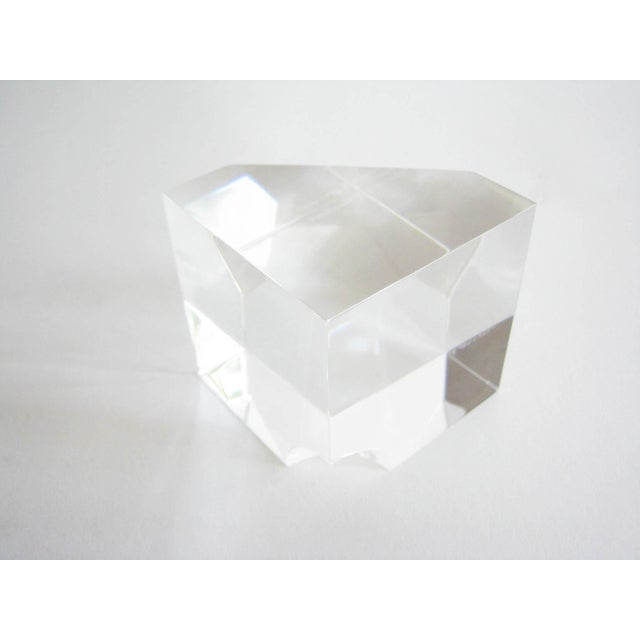 Glass Vintage Steuben Crystal Floating Spheres Cube Prism Paperweight Signed For Sale - Image 7 of 13