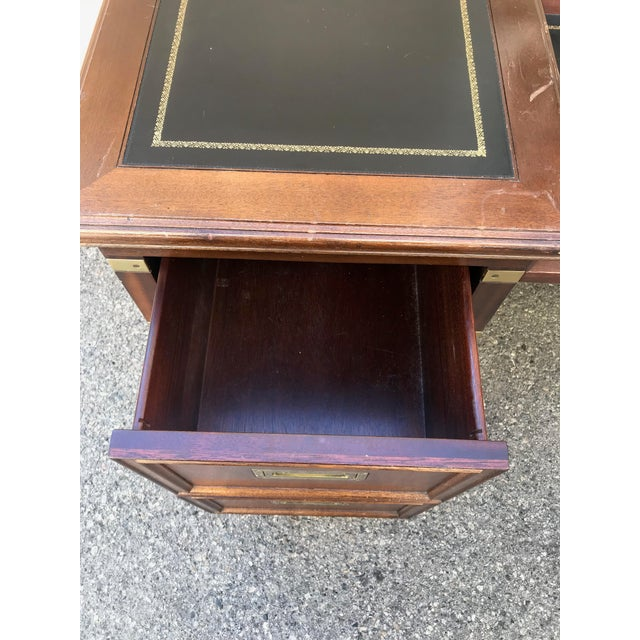 Animal Skin 1970s Campaign Executive Desk With Brass Hardware For Sale - Image 7 of 12