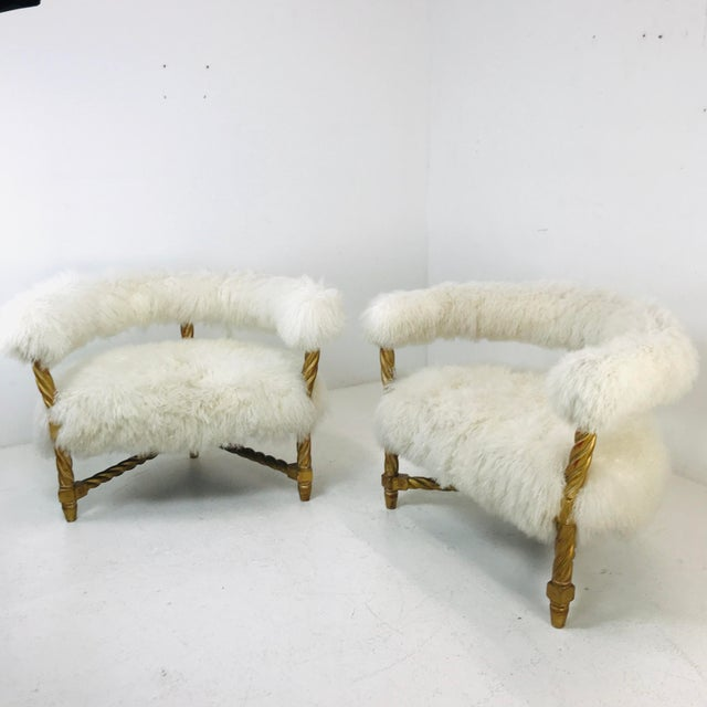1990s Pair Mongolian Lamb Chairs For Sale - Image 5 of 6