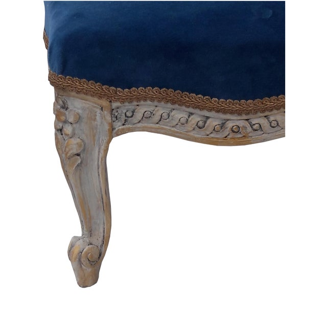 Mid 19th Century Antique French Velvet Footstool French Louis XVI Painted Footstool French Blue Velvet Carved Footstool French Paris Apartment Footstool For Sale - Image 5 of 8