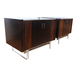 Mid Century Modern Rosewood and Lucite End Tables- A Pair For Sale