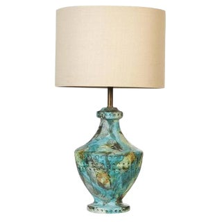 1960s Bitossi Style Volcanic Glaze Table Lamp