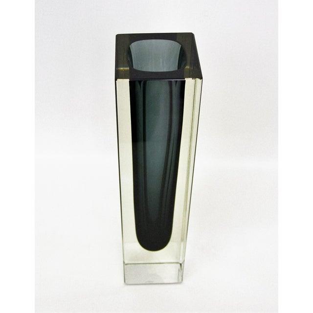 Italian Mandruzzato Murano Mid-Century Modern Gray Glass Vase MCM - Image 4 of 11