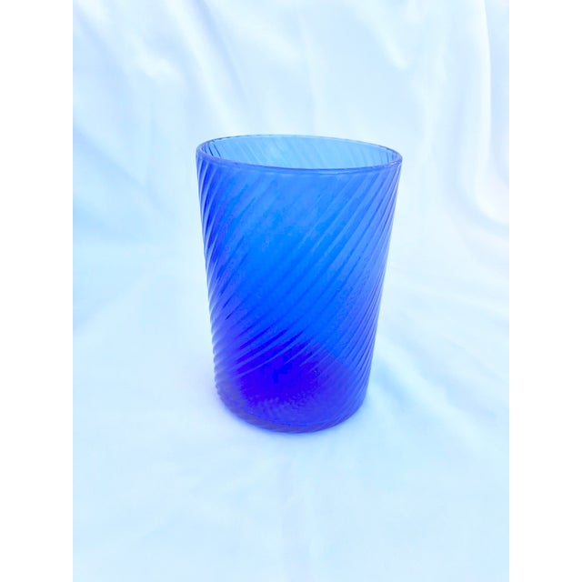 1980s Vintage Blue Swirl Glasses - Set of 7 For Sale - Image 4 of 9
