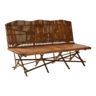 1920s English Bamboo Slatted Country Bench For Sale