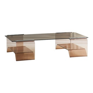 Michel Dumas Lucite Coffee Table With Smoked Glass Top For Sale