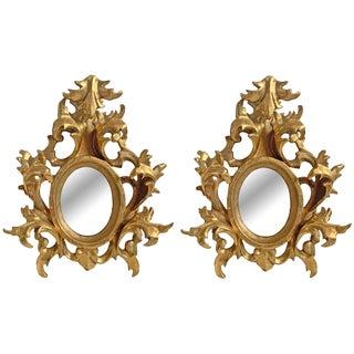 Italian Gilt Framed Mirrors - a Pair For Sale