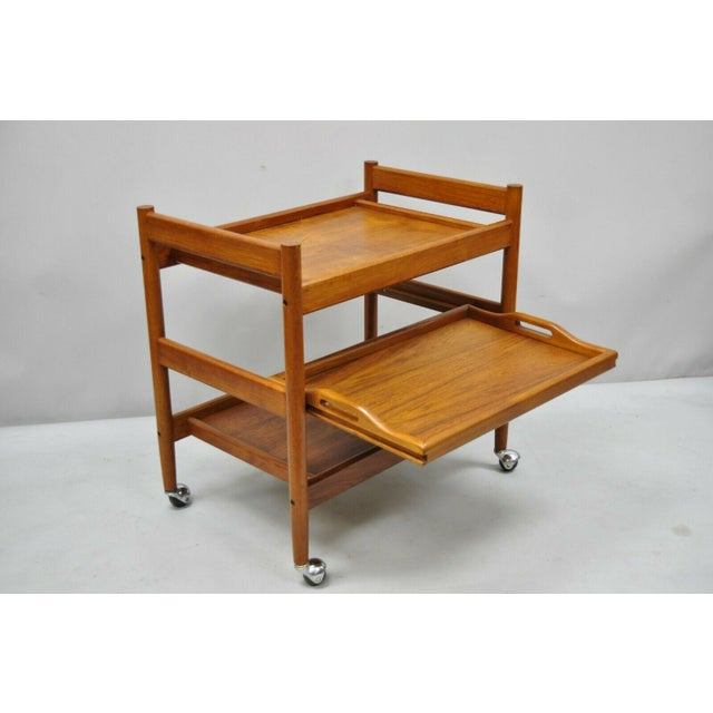 Mid-Century Modern 20th Century Danish Modern Dixie Teak Rolling Bar Cart For Sale - Image 3 of 12