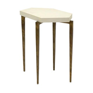 Small Ivory Parchment and Gilded Metal Drinks Table For Sale