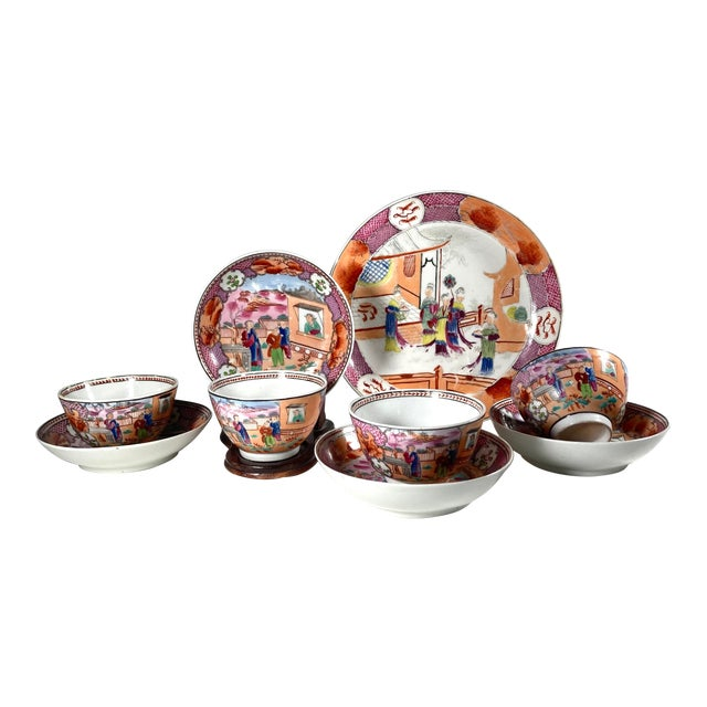 "Early 19th Century English Georgian Chinoiserie New Hall ""Boy in Window"" Breakfast Set for 4 For Sale"