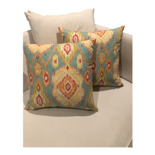 Custom Ikat Down Pillows - A Pair For Sale