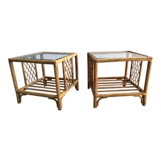 Vintage Rattan Side Tables - a Pair For Sale