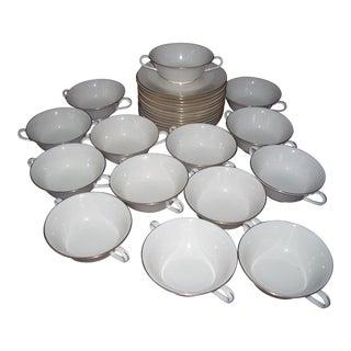 1990s Lenox Soup Bowls & Under Plates - Set of 28 For Sale