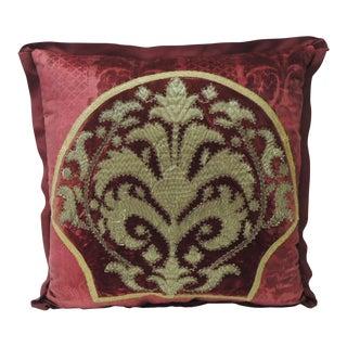 19th Century Crimson Red and Gold Crest Applique Velvet Decorative Pillow For Sale