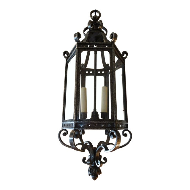 French Vintage Iron Lantern For Sale