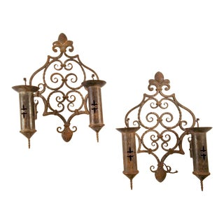 1970s Large 2 Arm French Iron Sconces - a Pair For Sale