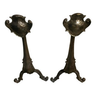 Antique French Brass Andirons - A Pair