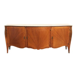 Elegant French Parquetry Three-Door Marble-Top Buffet or Sideboard For Sale