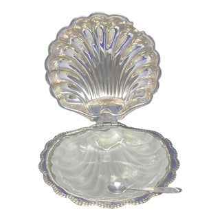 F&j Leek Silver Plated Clam Shell Condiment Dish For Sale