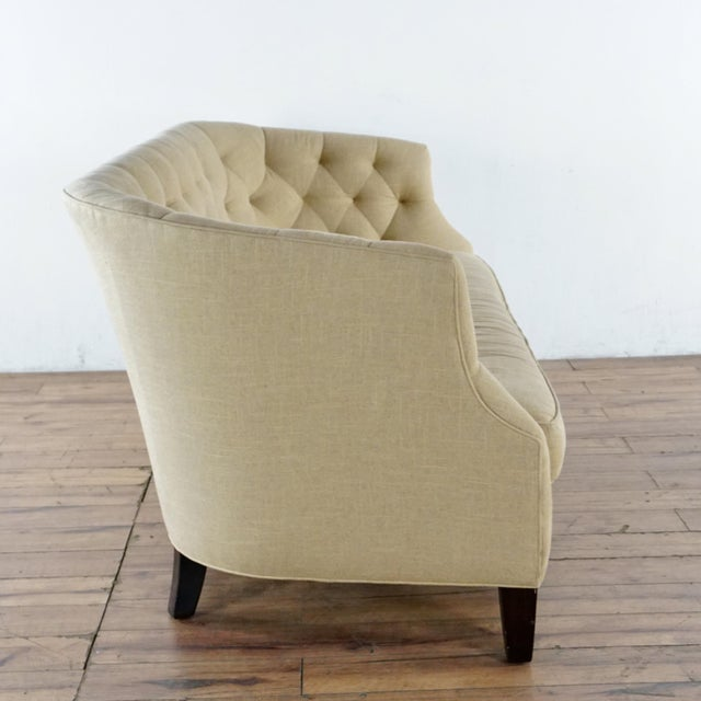Contemporary Modern Crate & Barrel Contemporary Beige Upholstered Button Tufted Sofa For Sale - Image 3 of 7