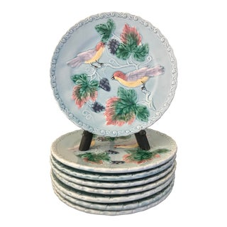 Vintage Mid-Century German Majoica Bird Plates - Set of 8 For Sale