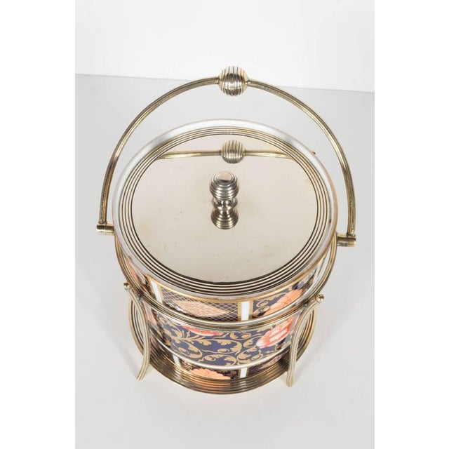 Spode Antique English Biscuit Holder in Porcelain and Silver Plate by Spode For Sale - Image 4 of 11