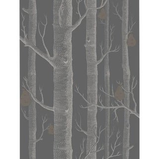 Cole & Son Woods & Pears Wallpaper Roll - Gilver/Black For Sale