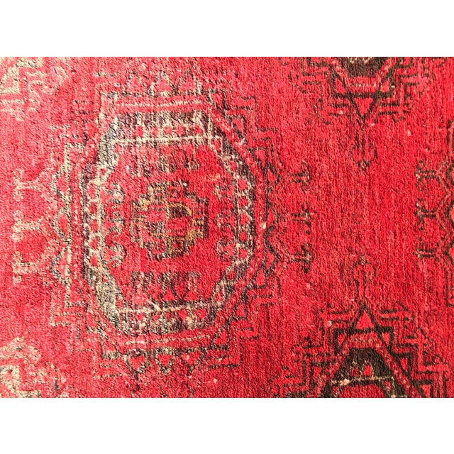 "Antique Turkaman Red Persian Rug - 1'10"" x 2'10"" - Image 5 of 7"