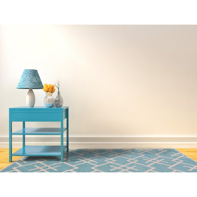 Contemporary Zara Patterned Aqua Flat-Weave Rug 8'x10' For Sale - Image 3 of 4
