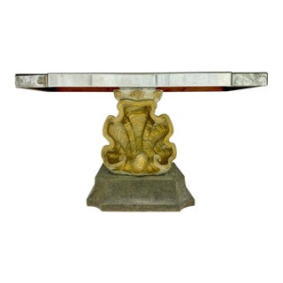 Hollywood Regency Italian Grotto Inspired Cast Plaster Shell Form Console Table