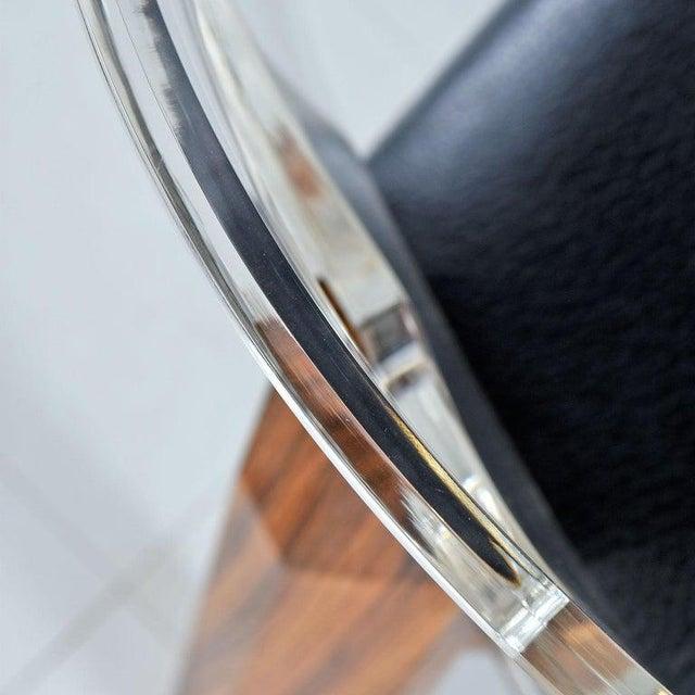 Vintage Modern Lucite Back Zebra Wood Dining Chairs - New Black Vinyl For Sale - Image 6 of 9