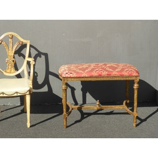 Antique French Louis XVI Gold Ornately Carved Red Bench W Decorative Nails Preview