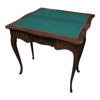 1970s Traditional Wooden Game Table With Green Felt For Sale