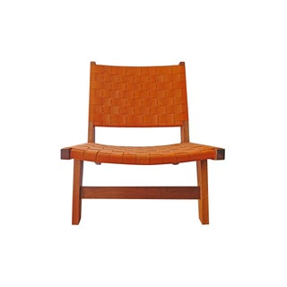 Orange Leather Interwoven Lounge Chair