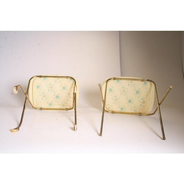Mid Century Modern Yellow & Green TV Tray Tables - Set of 4 - Image 10 of 11