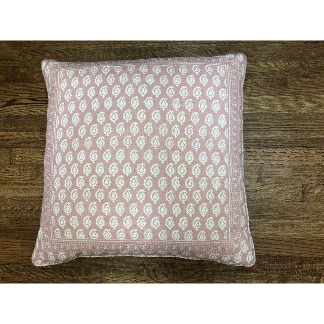 Peter Dunham Pink Rajmata Print Down Designer Pillow For Sale - Image 9 of 9