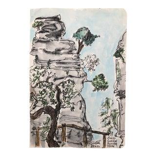 Mediterranean Possiedon Gardens, Italy Watercolor For Sale